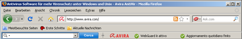 Avira SearchFree Toolbar integrated in Mozilla FireFox