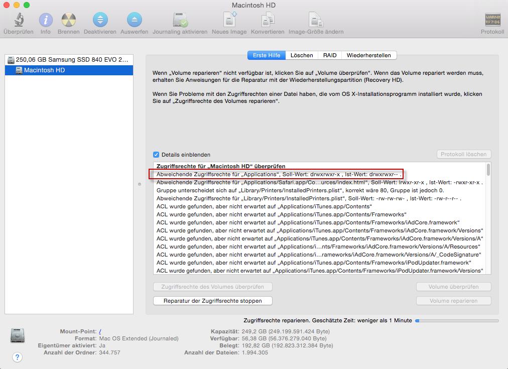 mac-abweichende zugriffsrechte