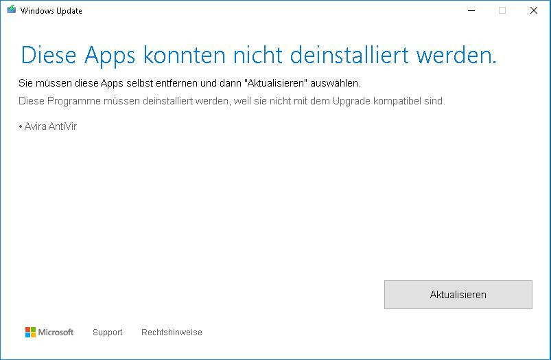 Windows Update meldet ein inkompatibles Avira-Produkt mit