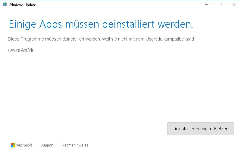Windows Update meldet ein inkompatibles Avira-Produkt mit Spring ...