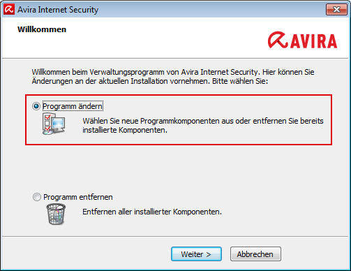 Avira Internet Security - Änderungsinstallation - Programm ändern