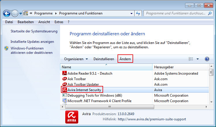 Avira Internet Security Änderungsinstallation