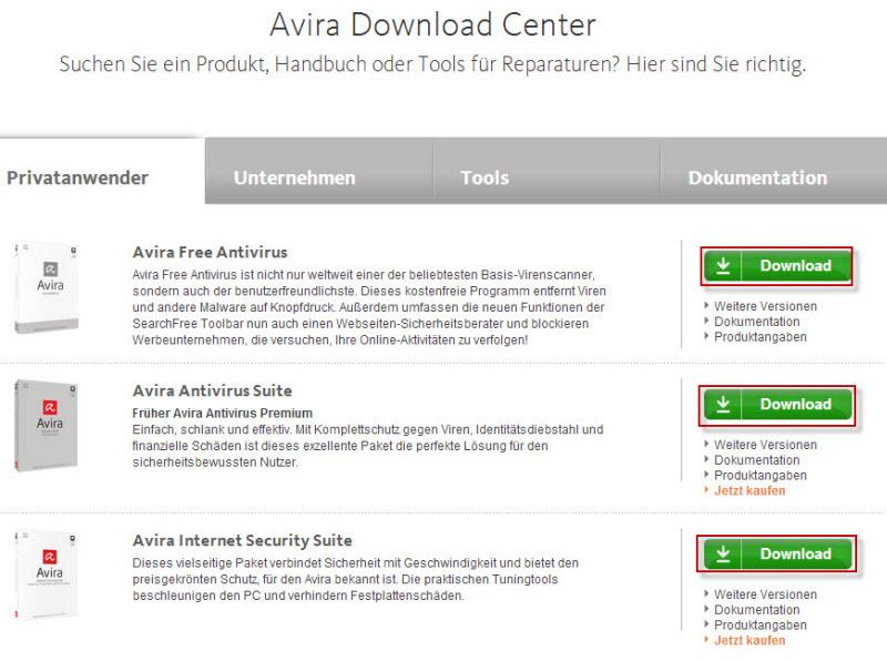 Avira Download Center - Für Privatanwender