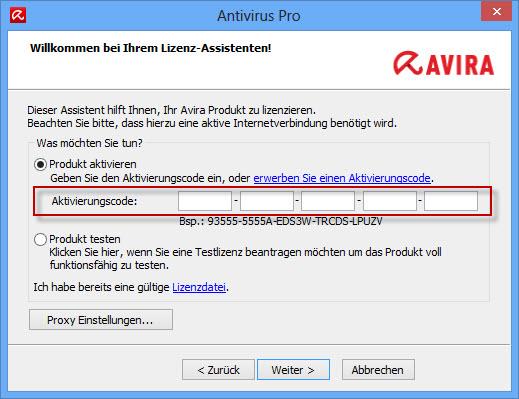 Avira Internet Security Suite - Lizenz-Assistent - Aktivierungscode eingeben