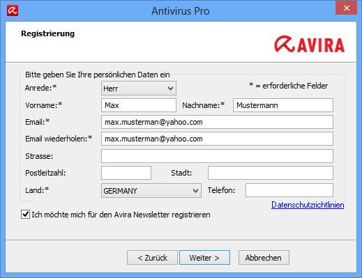 Avira Internet Security Suite - Registrierung - Daten überprüfen