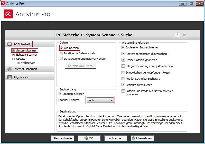 Avira Antivirus Pro - Konfiguration - Systyem-Scanner - Dateien und Scanner-Priorität