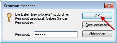 Datei entpacken - Passwort eingeben