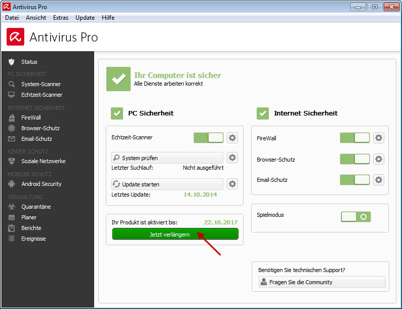 Avira Antivirus Pro - Jetzt verlängern
