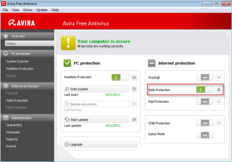 Avira Free Antivirus - Web Protection が有効になっています