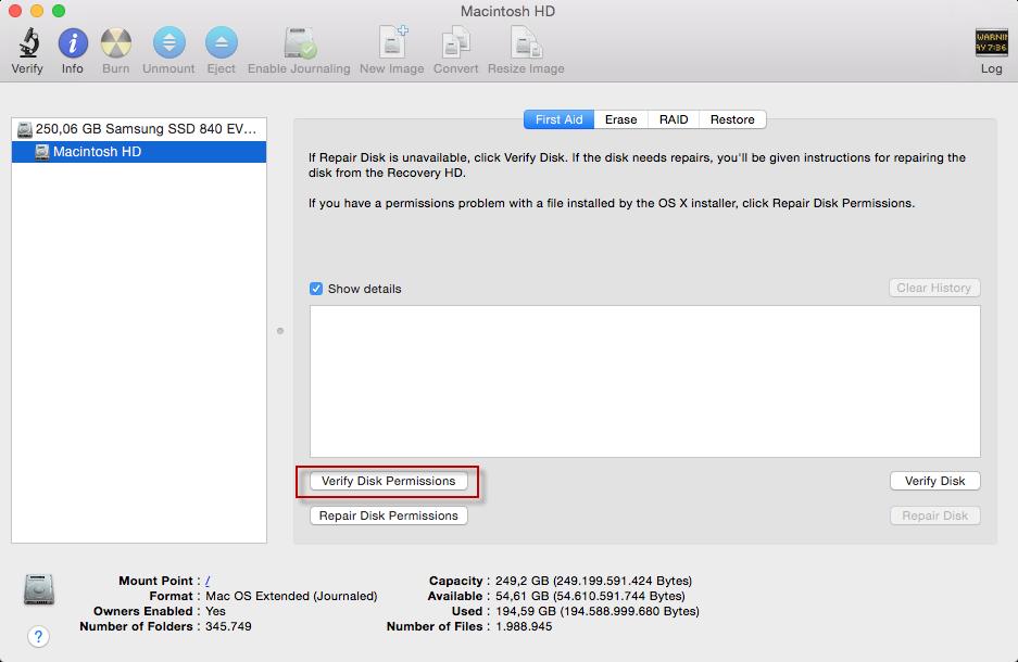 2.1 verify Disk Permissions