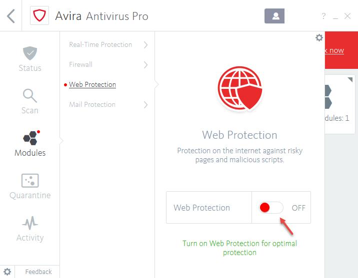 avira web protection disabled