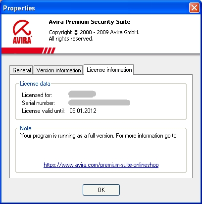 Avira Premium Security Suite - ライセンス情報