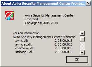 About Avira Security Management Center Frontend