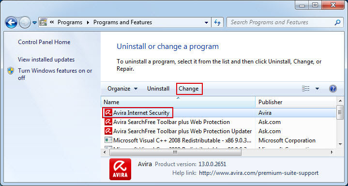 Avira Internet Security change installation