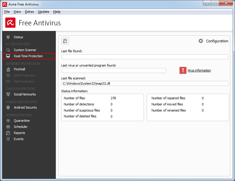 Avira Free Antivirus - Real-Time Protection - Overview