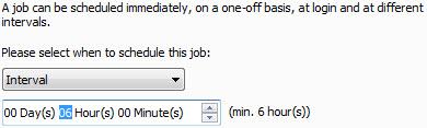 Avira Scheduler - add upate job - interval