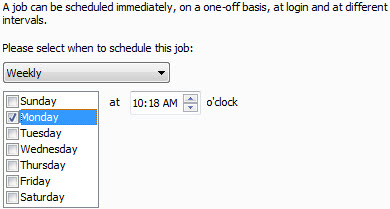 Avira Scheduler - schedule job - time - Weekly