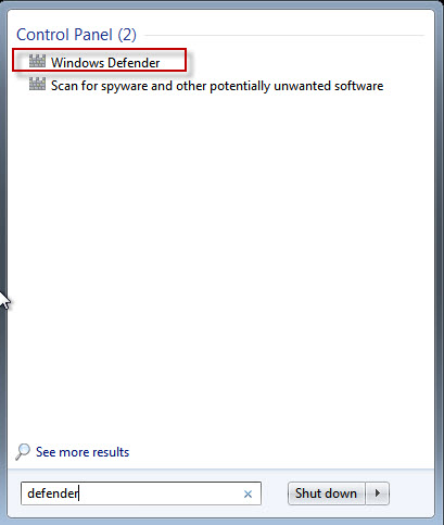 Panneau de configuration – Windows Defender