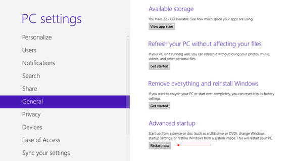 win 8 pc settings restart