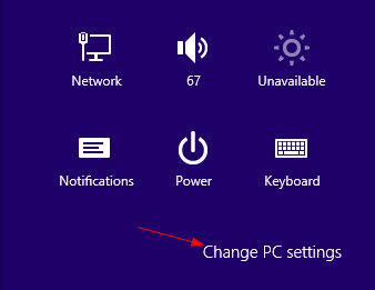 win8 activate pc settings