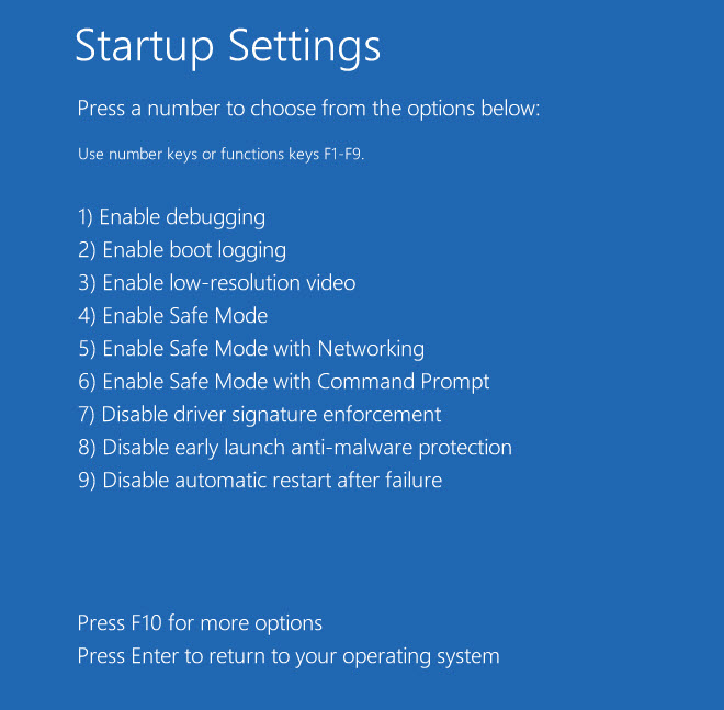 Win8 startup settings