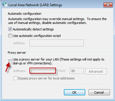 LAN Settings - Use a proxy server for your LAN