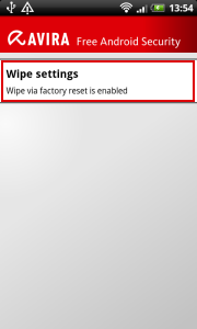 Avira Free Android Security -  Wipe settings