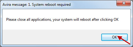 Avira message: 1. System reboot required