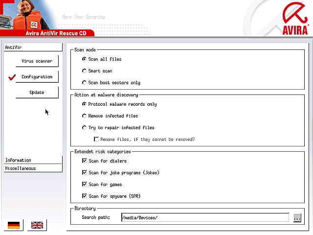 Avira AntiVir Rescue CD - scanner settings