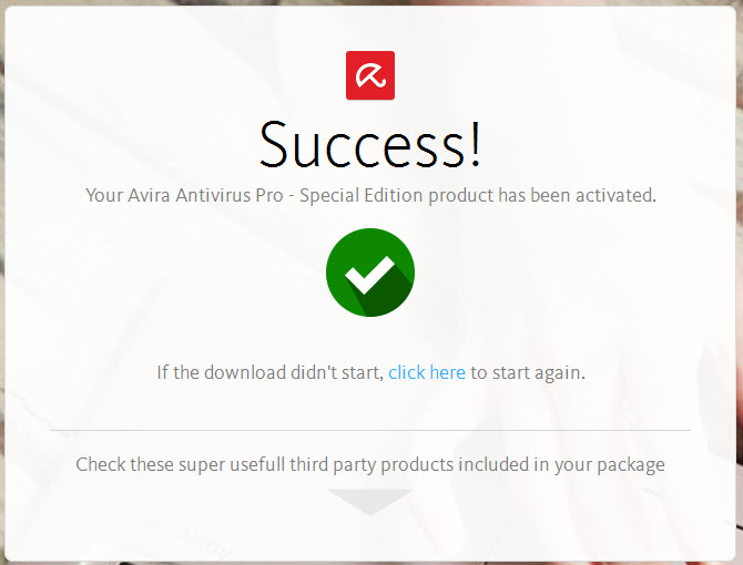 Activation of Avira Antivirus Pro successfull