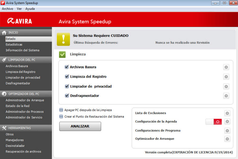Avira System Speedup before performing a scan