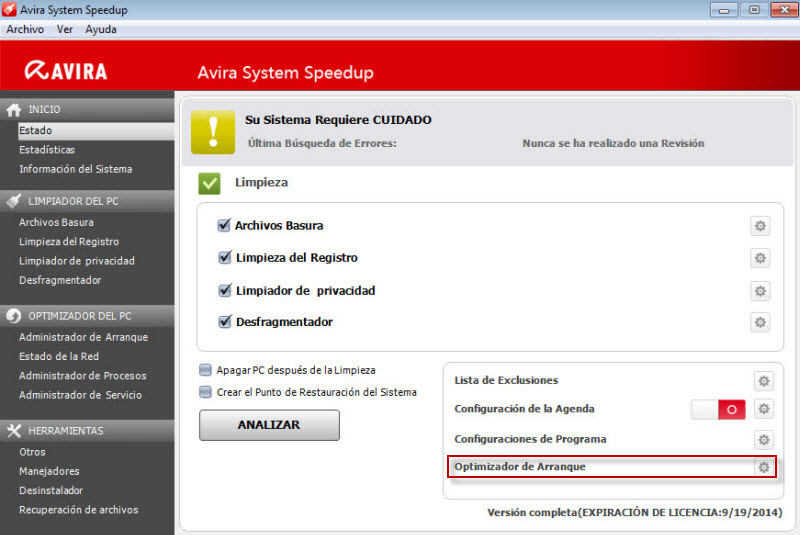 Avira System Speedup - Menu - Optimizador de Arranque
