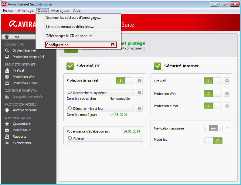 Avira Internet Security Suite - Outils - Configuration