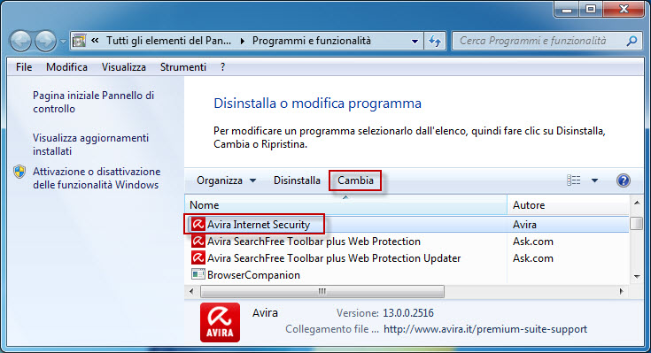 Installazione modifica Avira Internet Security