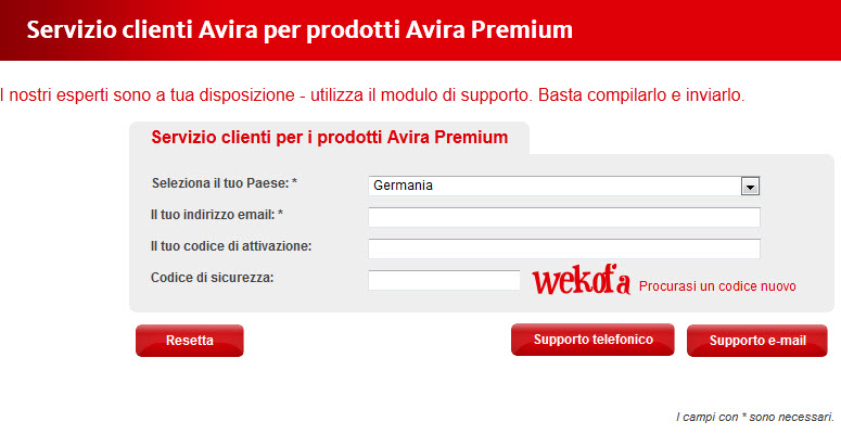 request Avira hotline number - form