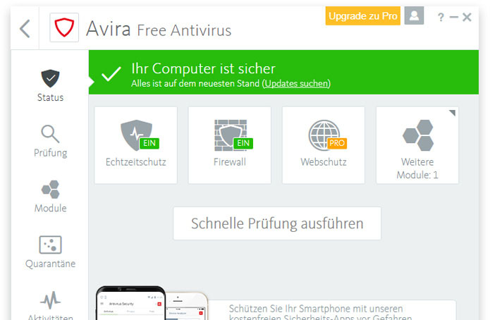 Avira Antivirus Free Screen
