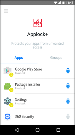 Select an app to lock