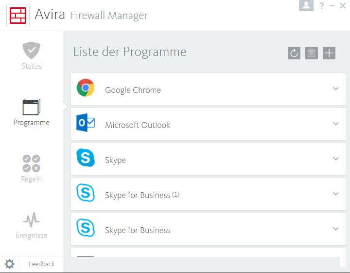 Avira Firewall Screenshot