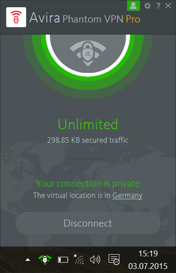 Avira Phantom VPN Windows Screenshot