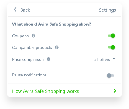 You're in complete control - Avira Safe Shopping