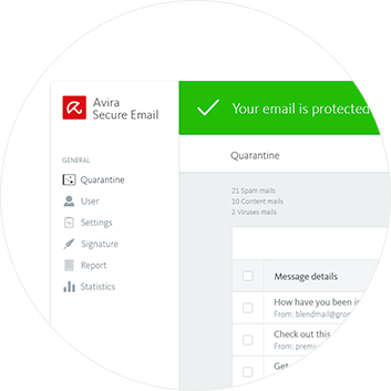 Avira Secure Email user friendly interface