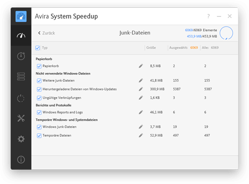 Avira System Speedup - Junk Files Screenshot