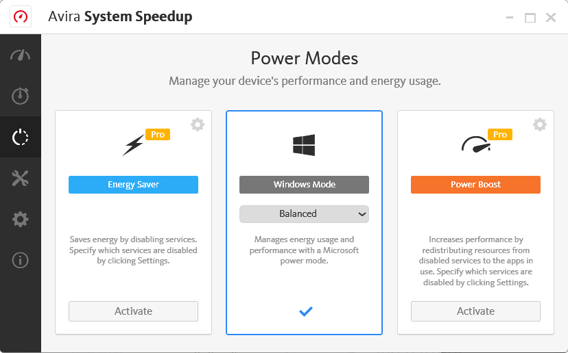 Avira System Speedup - Power Mode Screenshot