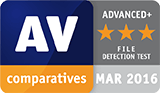 AV Comparatives award, March 2016 - Detection Test