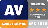 AV Comparatives award, April 2016 - Performance Test