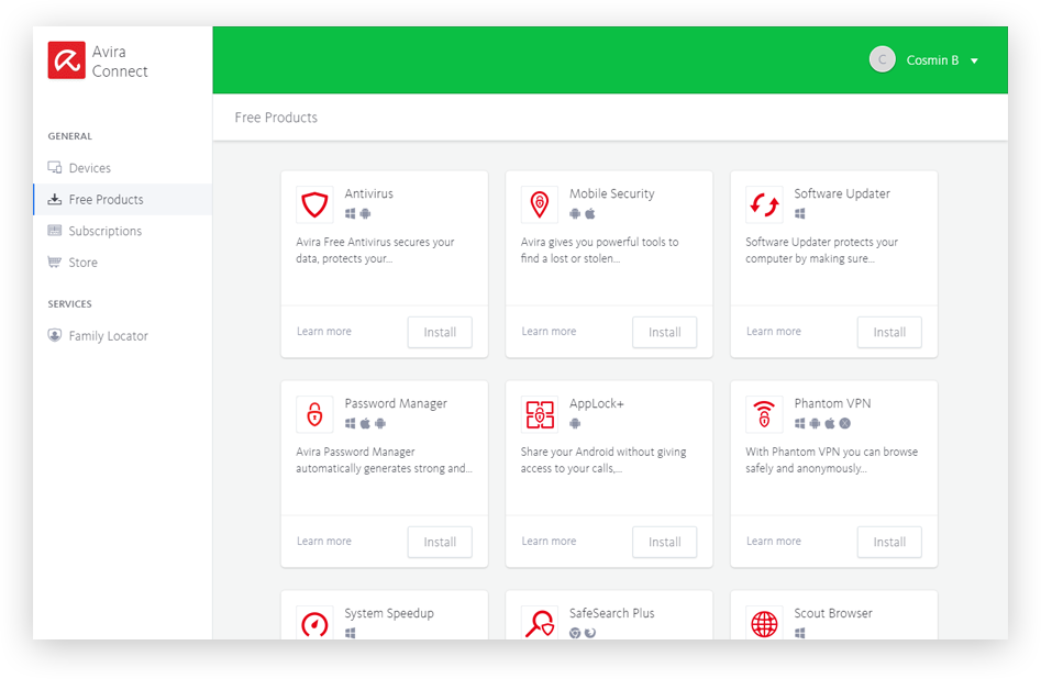 Avira Connect Dashboard Deshtop - Free products
