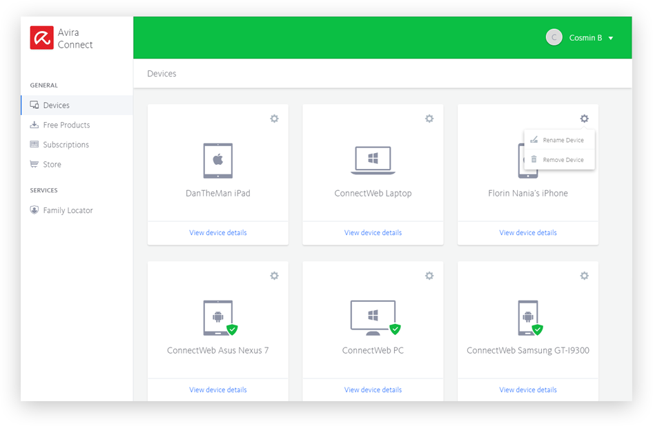 Avira Connect Dashboard Deshtop - Manage Devices