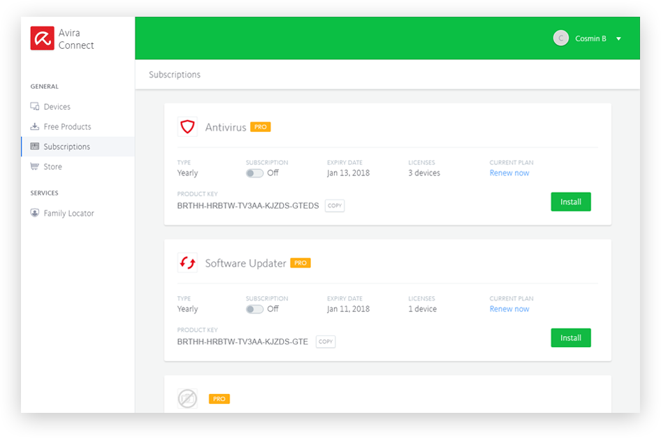 Avira Connect Dashboard Manage Subscriptions