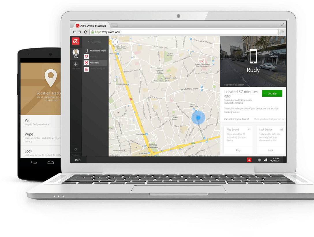 Locate a phone with Avira Online Essentials