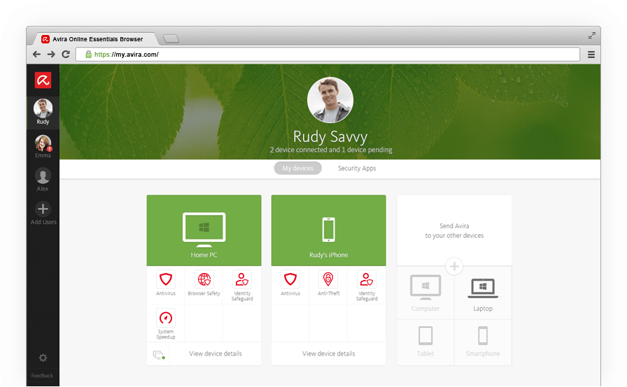 Avira Online Essentials Dashboard